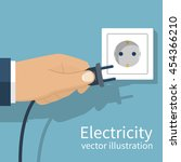 electric power plug holding in... | Shutterstock .eps vector #454366210