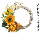 autumn wreath leaves and... | Shutterstock . vector #454372204