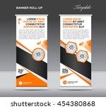 orange roll up banner stand... | Shutterstock .eps vector #454380868