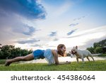 french bulldog and owner in the ... | Shutterstock . vector #454386064