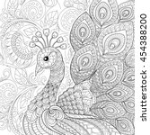 peacock in zentangle style.... | Shutterstock .eps vector #454388200