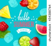summer colorful poster. vector... | Shutterstock .eps vector #454388764