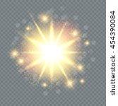 transparent gold light effect.... | Shutterstock .eps vector #454390084