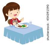 illustration of a cute girl... | Shutterstock .eps vector #454391590