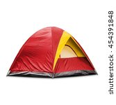 Small photo of Red dome tent, isolated on white background with clipping path
