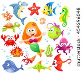 big set of cute cartoon sea... | Shutterstock .eps vector #454396048