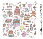 happy birthday set | Shutterstock .eps vector #454399906