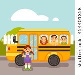 pupils on the school bus ride... | Shutterstock .eps vector #454401358