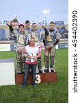 Small photo of DAUGAVPILS, LATVIA - July 17, 2016. Latian team on the podium - 3rd place in semifanl. Semifinal of Team Speedway Junior European Championship. participants - Latvia, Denmark, Czech, Norway.