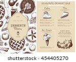 vector dessert menu design for... | Shutterstock .eps vector #454405270