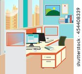 office work place with computer ...   Shutterstock .eps vector #454408339