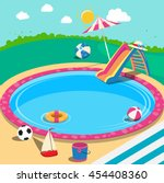 outdoor swimming pool with toys.... | Shutterstock .eps vector #454408360