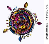 hand drawn boho circle design...   Shutterstock .eps vector #454410778