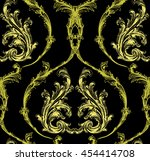 baroque gold damask with... | Shutterstock .eps vector #454414708