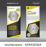 yellow and black roll up banner ... | Shutterstock .eps vector #454420369