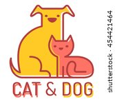 Stock vector vector flat logo with cat and dog 454421464