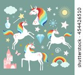 unicorn fairy magic elements... | Shutterstock .eps vector #454426510