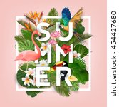 summer typographical background ... | Shutterstock .eps vector #454427680
