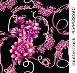 pattern with summer flowers... | Shutterstock .eps vector #454438360
