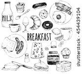 Vector Doodle Set. Breakfast....