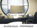 office desktop with blank... | Shutterstock . vector #454440664