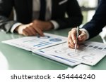 business colleague discussing... | Shutterstock . vector #454444240