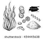 spirulina seaweed powder hand... | Shutterstock .eps vector #454445638
