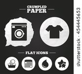 crumpled paper speech bubble.... | Shutterstock .eps vector #454445653