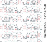 town seamless funny pattern...   Shutterstock .eps vector #454457668