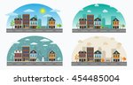 vector cartoon retro... | Shutterstock .eps vector #454485004