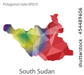 south sudan map in geometric... | Shutterstock .eps vector #454489606