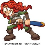 cartoon warrior princess.... | Shutterstock .eps vector #454490524