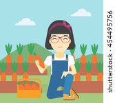 an asian female farmer... | Shutterstock .eps vector #454495756