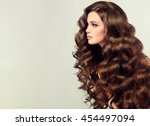 brunette  girl with long  and   ... | Shutterstock . vector #454497094