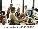 business office connection... | Shutterstock . vector #454500130