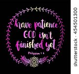 have patience god is not... | Shutterstock .eps vector #454501300