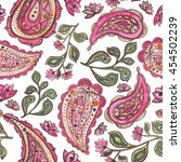 Watercolor Pink Paisley And...