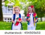 child going to school. boy and... | Shutterstock . vector #454505653