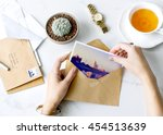 postcard letters tea desk... | Shutterstock . vector #454513639