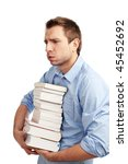 Tired student standing with books. Isolated on white. - stock photo