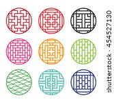 set of round chinese pattern... | Shutterstock .eps vector #454527130