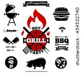 bbq party logos and labels.... | Shutterstock .eps vector #454532740