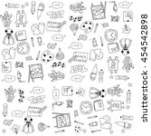 education tools doodles on... | Shutterstock .eps vector #454542898