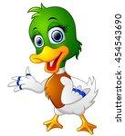 cute baby duck presenting   Shutterstock .eps vector #454543690