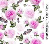 pattern with watercolor... | Shutterstock . vector #454544290