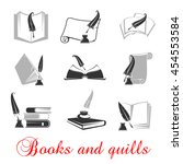 manuscript and books with quill ... | Shutterstock .eps vector #454553584