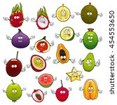 tropical cartoon fruits with... | Shutterstock .eps vector #454553650