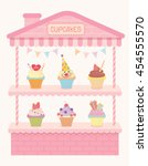 illustration pink cute cupcakes ...   Shutterstock .eps vector #454555570