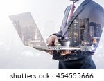 double exposure of businessman... | Shutterstock . vector #454555666