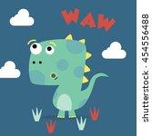 cute dinosaur mascot template.... | Shutterstock .eps vector #454556488